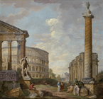 A Roman Capriccio by Giovanni Paolo Panini and studio