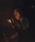 A boy blowing on the embers of a piece of wood and holding a candle by Attributed to Godfried Schalcken
