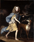 Young boy with a dog by  English School
